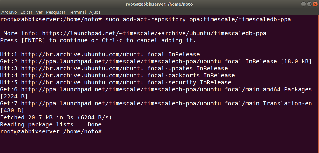 instalação zabbix 5.0 timescaledb